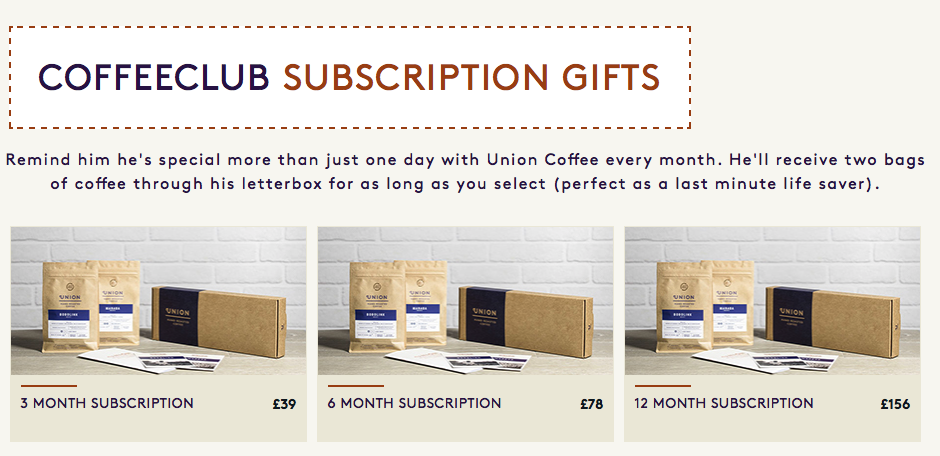 Coffee Subscription Union Hand Roasted